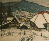 Winter in Wettingen  Zementbild von Richard Wannenmacher  1995  72x63 cm  Nr.1098