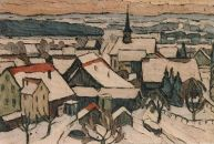 Winter in Volketswil  Zementbild von Richard Wannenmacher  1977  63x50cm   Nr.1260