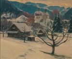 Winter am Martinsberg  Ölbild von Richard Wannenmacher  1980  50x42cm  Nr463