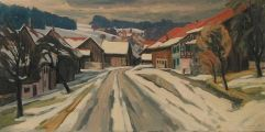 Winter in Schneit  Ölbild von Richard Wannenmacher  1980  80x40cm  Nr.476