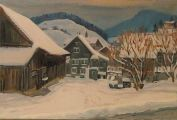Winter in Mosnang  Ölbild von Richard Wannenmacher  1987  60x40cm  Nr.505