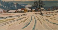 Winter in Kehlhof  Ölbild von Richard Wannenmacher  1978  70x36cm  Nr.519