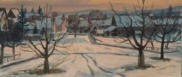 Winter in Märstetten  Ölbild von Richard Wannenmacher  1983  70x30cm  Nr.634