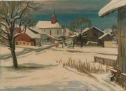 Winter in Volketswil  Ölbild von Richard Wannenmacher  1977  70x50cm  Nr.730